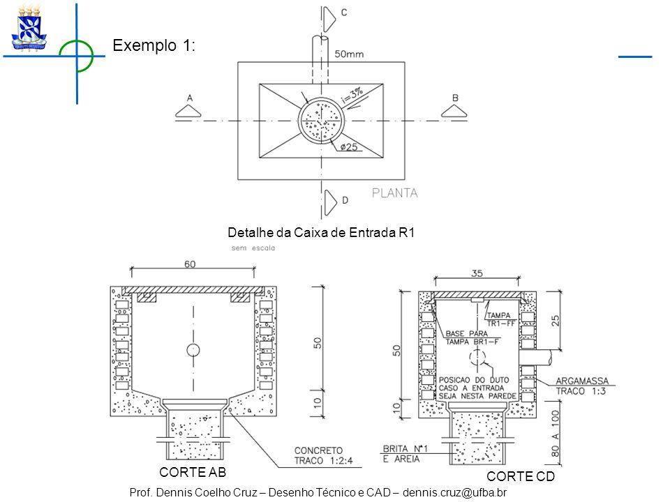 Exemplo 1: Detalhe da Caixa de Entrada R1 CORTE AB CORTE CD