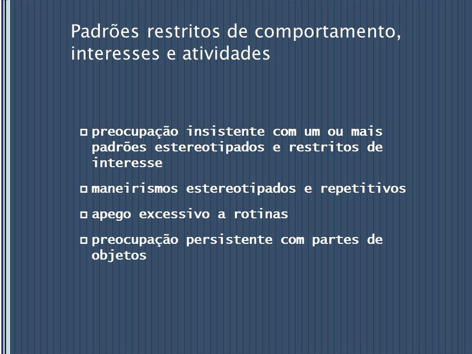 Padrões restritos de comportamento, interesses e atividades