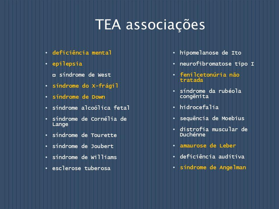 TEA associações deficiência mental epilepsia síndrome de West