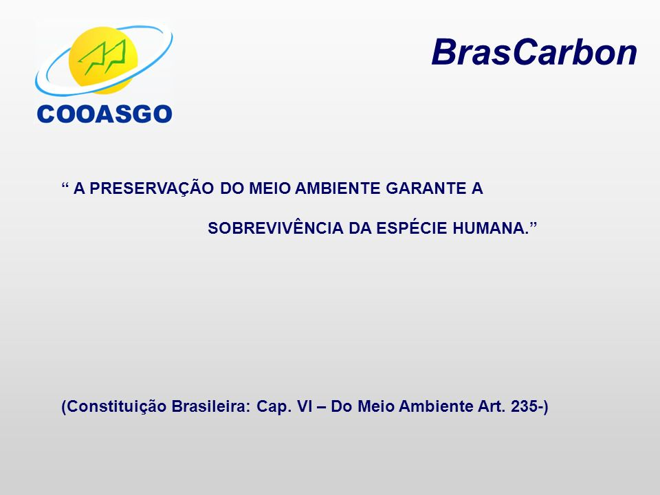 BrasCarbon A PRESERVAÇÃO DO MEIO AMBIENTE GARANTE A