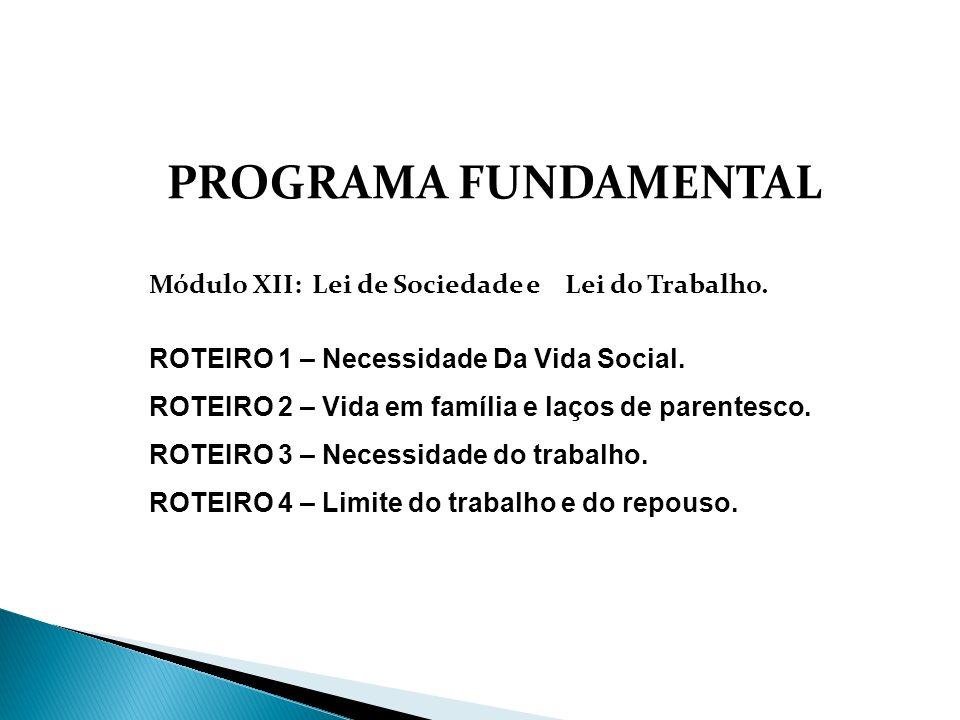 PROGRAMA FUNDAMENTAL Módulo XII: Lei de Sociedade e Lei do Trabalho.