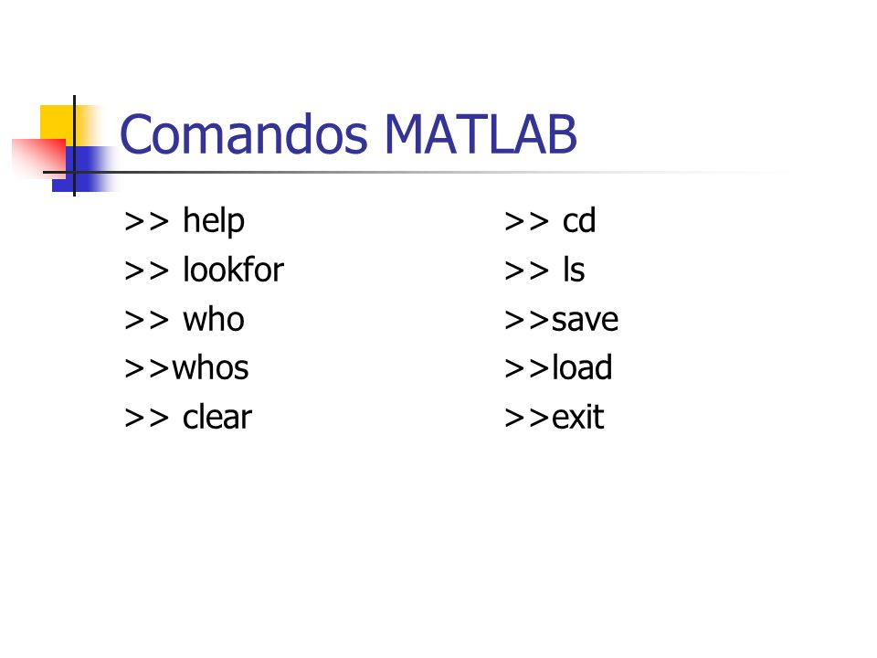 Comandos MATLAB >> help >> lookfor >> who