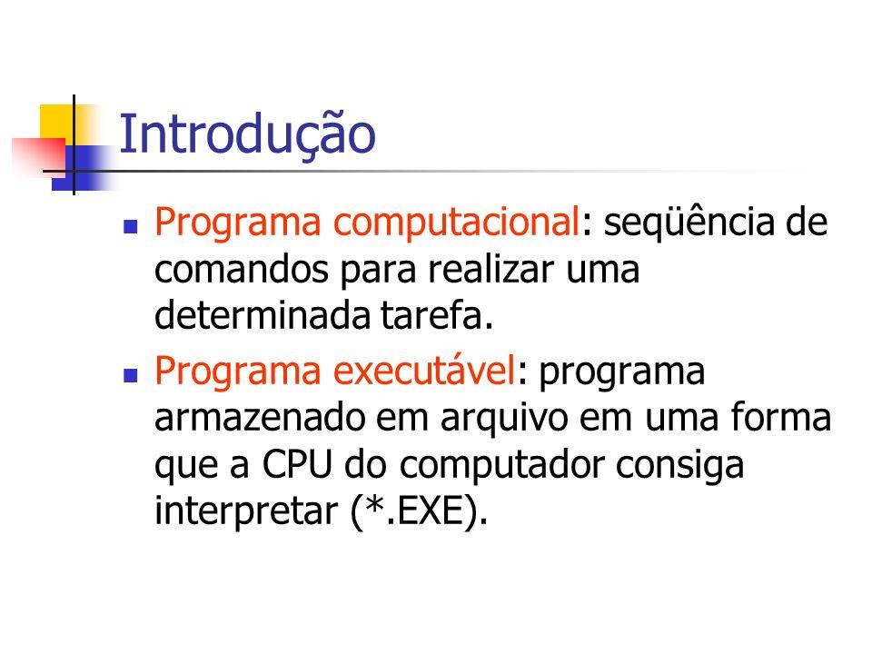 Introdução Programa computacional: seqüência de comandos para realizar uma determinada tarefa.