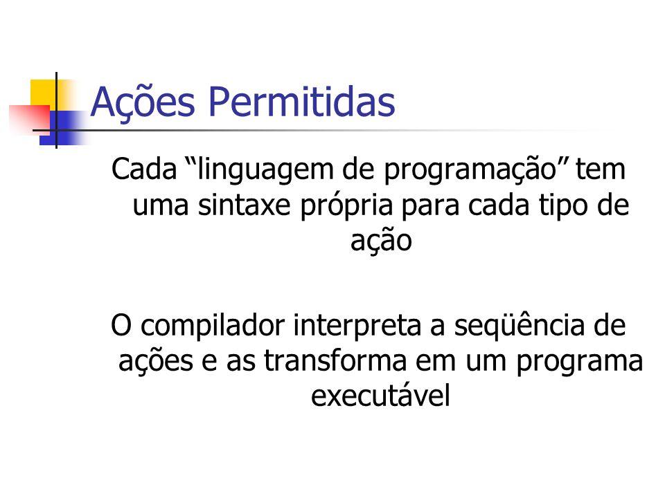 Ações Permitidas Cada linguagem de programação tem uma sintaxe própria para cada tipo de ação.