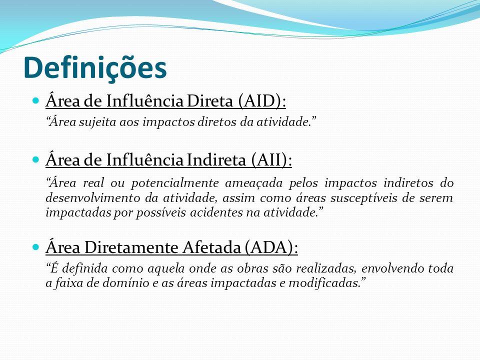 Definições Área de Influência Direta (AID):