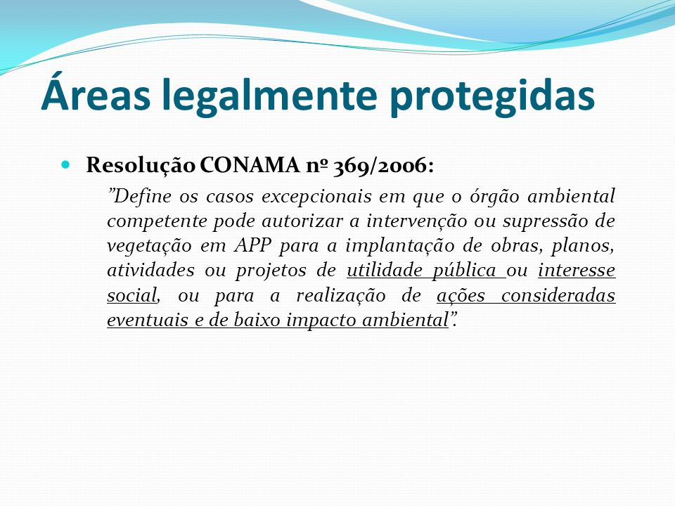 Áreas legalmente protegidas