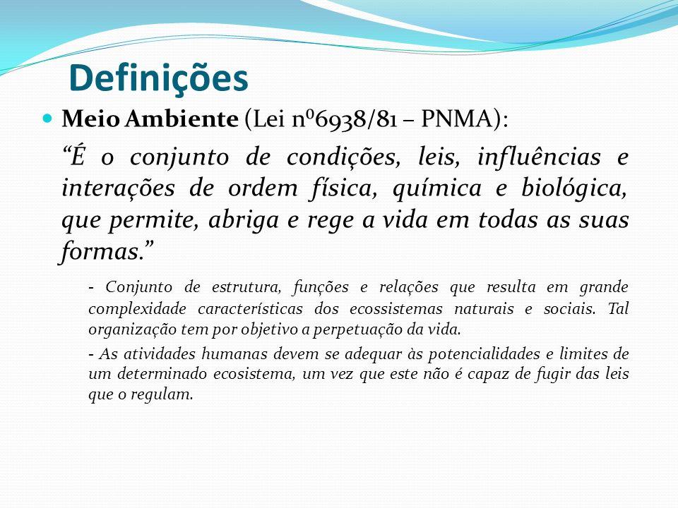 Definições Meio Ambiente (Lei n⁰6938/81 – PNMA):