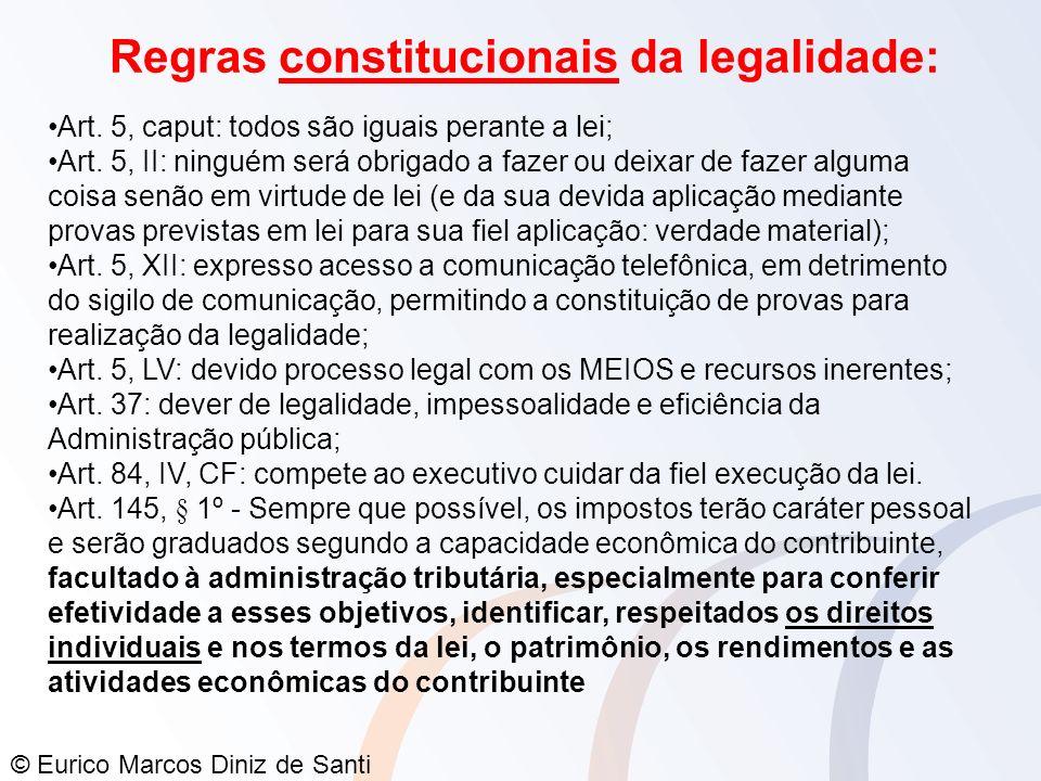 Regras constitucionais da legalidade:
