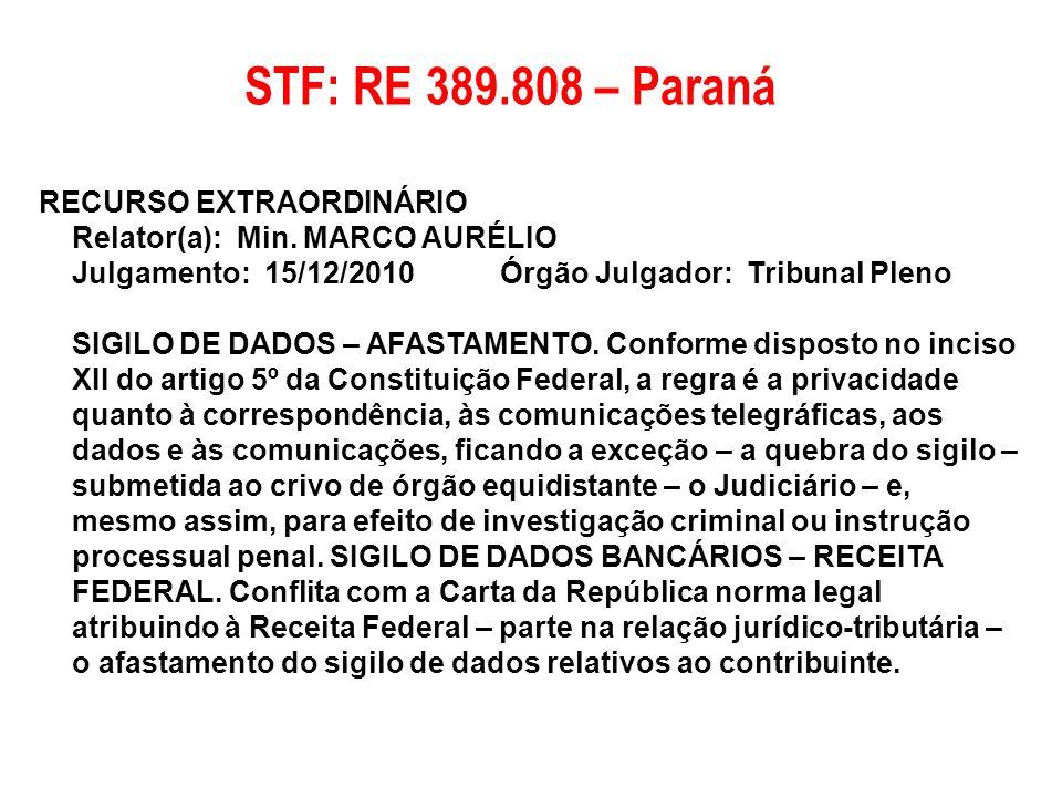 STF: RE 389.808 – Paraná RECURSO EXTRAORDINÁRIO Relator(a): Min. MARCO AURÉLIO Julgamento: 15/12/2010 Órgão Julgador: Tribunal Pleno.
