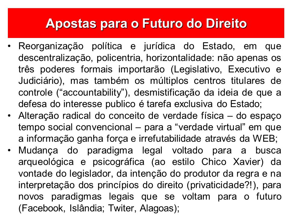 Apostas para o Futuro do Direito
