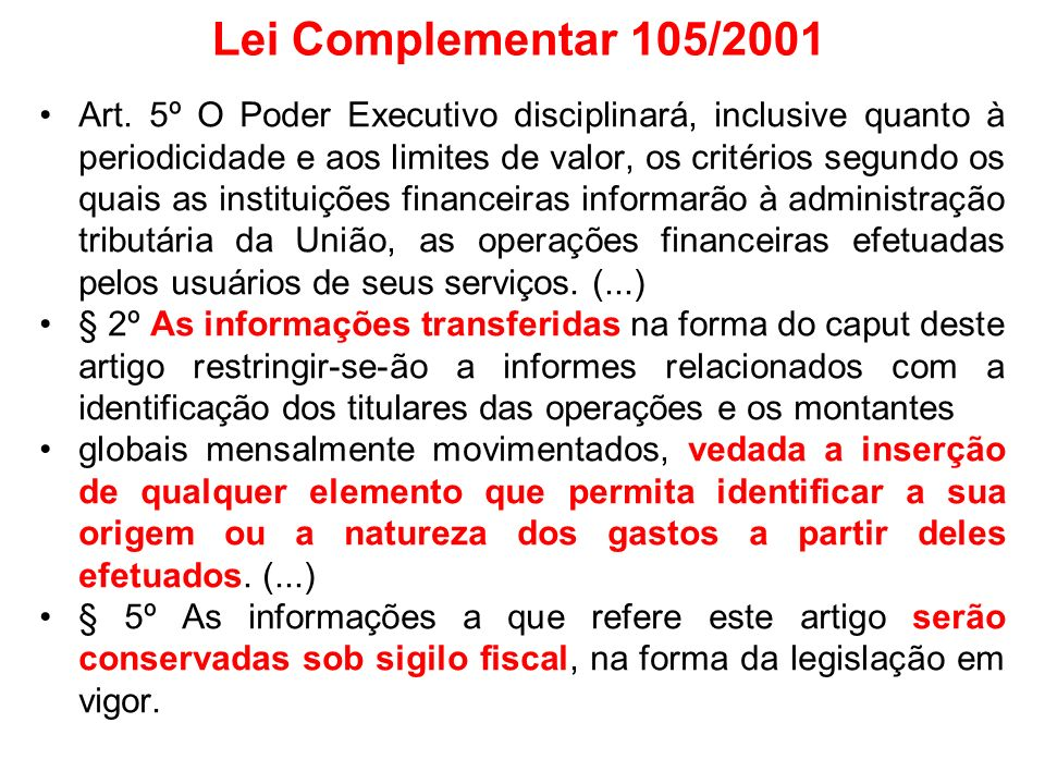Lei Complementar 105/2001