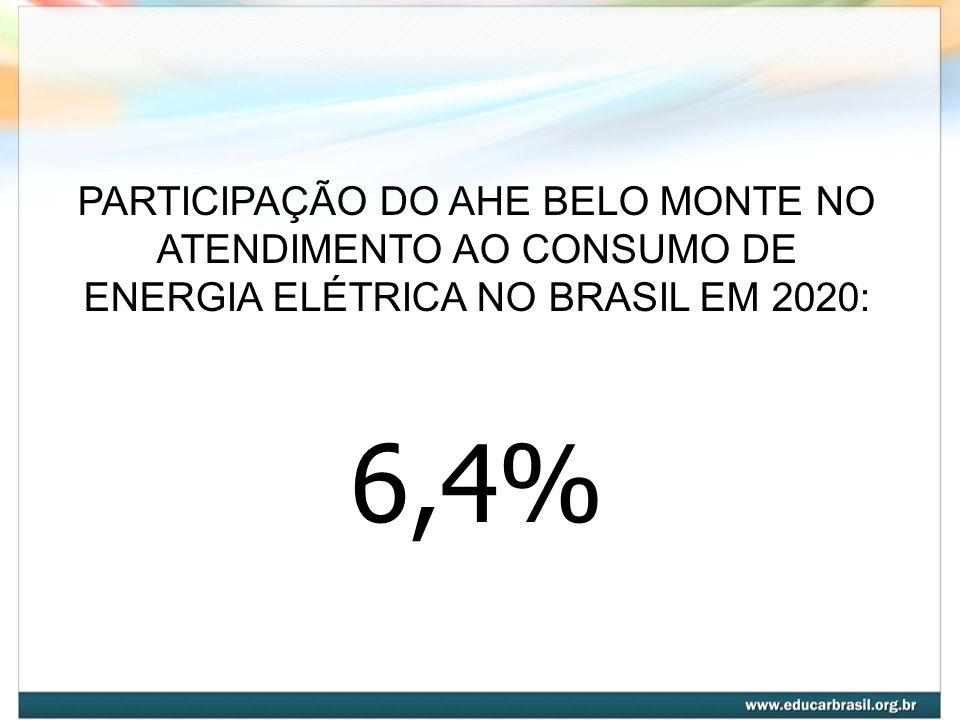 PARTICIPAÇÃO DO AHE BELO MONTE NO ATENDIMENTO AO CONSUMO DE ENERGIA ELÉTRICA NO BRASIL EM 2020: