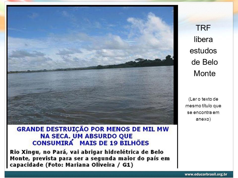 TRF libera estudos de Belo Monte (Ler o texto de mesmo título que