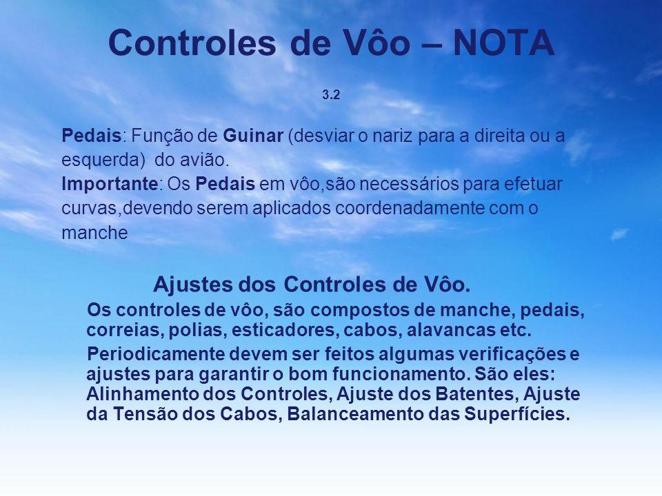 Controles de Vôo – NOTA 3.2 Pedais: Função de Guinar (desviar o nariz para a direita ou a. esquerda) do avião.