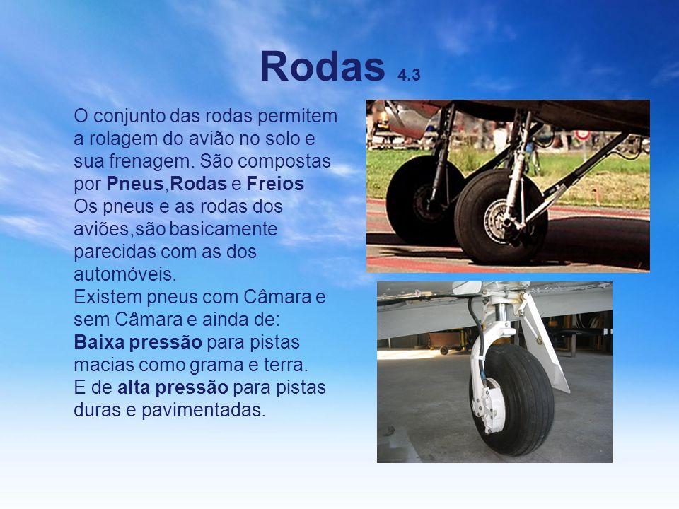 Rodas 4.3 O conjunto das rodas permitem a rolagem do avião no solo e