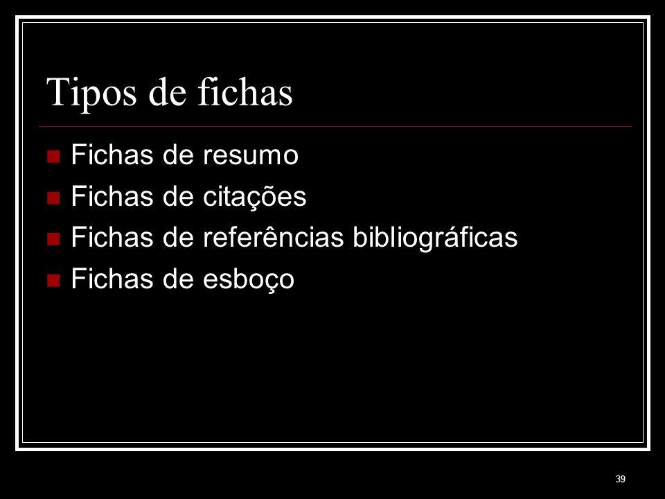 Tipos de fichas Fichas de resumo Fichas de citações