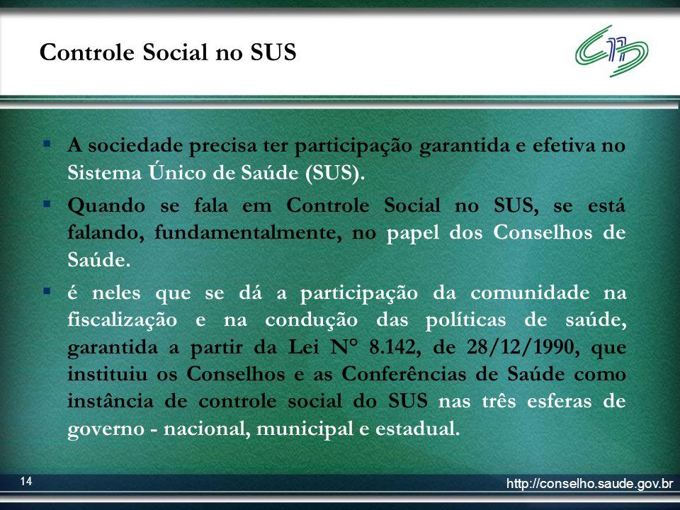 Controle Social no SUS A sociedade precisa ter participação garantida e efetiva no Sistema Único de Saúde (SUS).