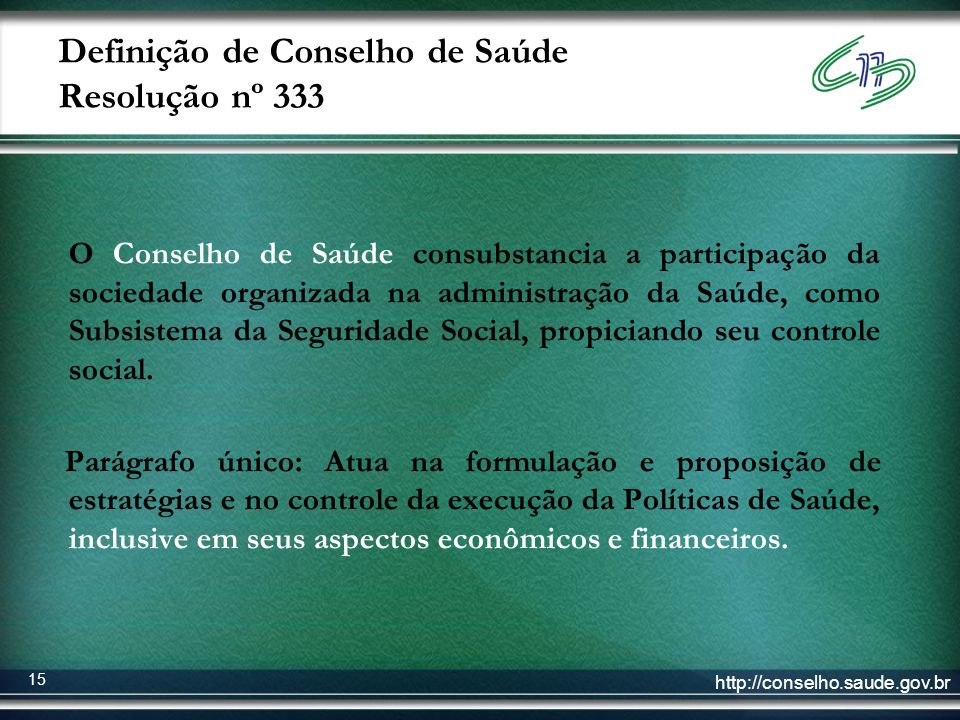 Definição de Conselho de Saúde Resolução nº 333