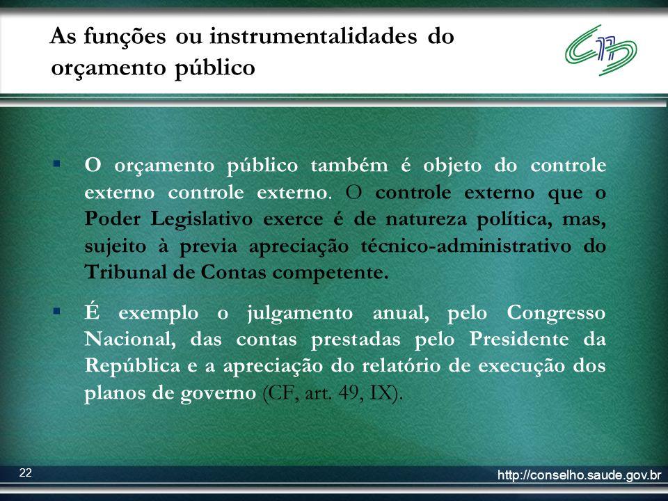 As funções ou instrumentalidades do orçamento público