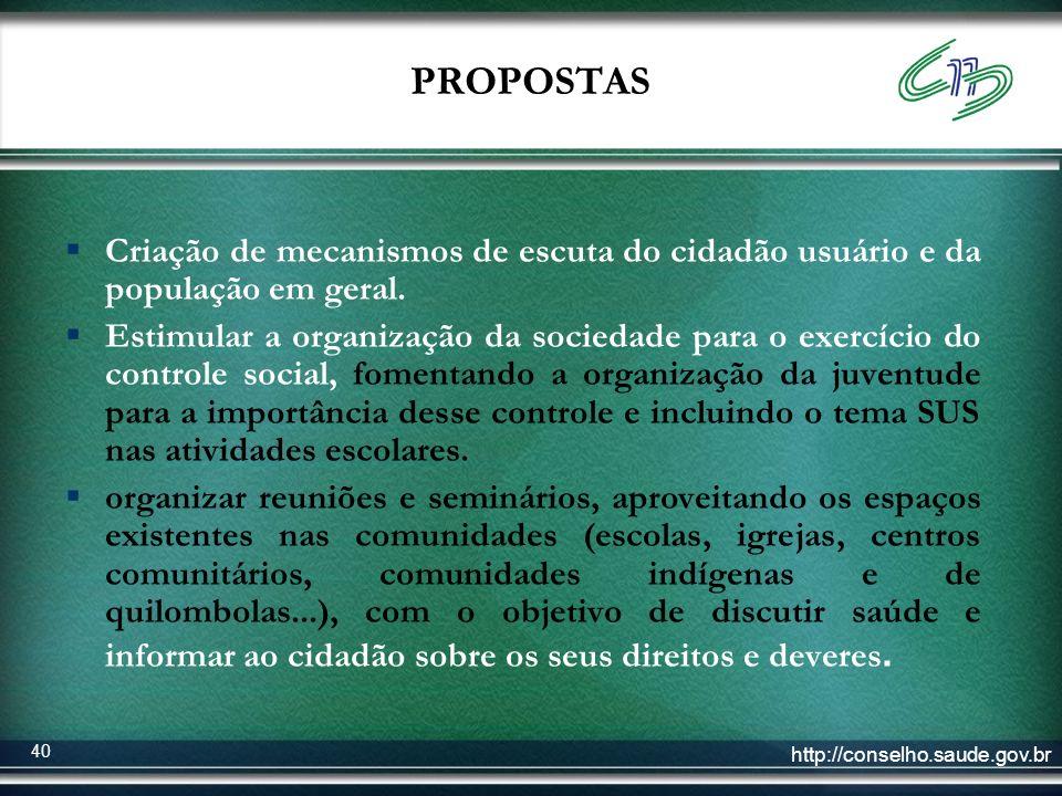 PROPOSTAS Criação de mecanismos de escuta do cidadão usuário e da população em geral.