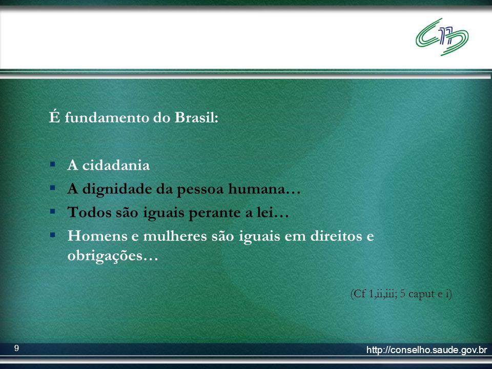 É fundamento do Brasil: A cidadania A dignidade da pessoa humana…