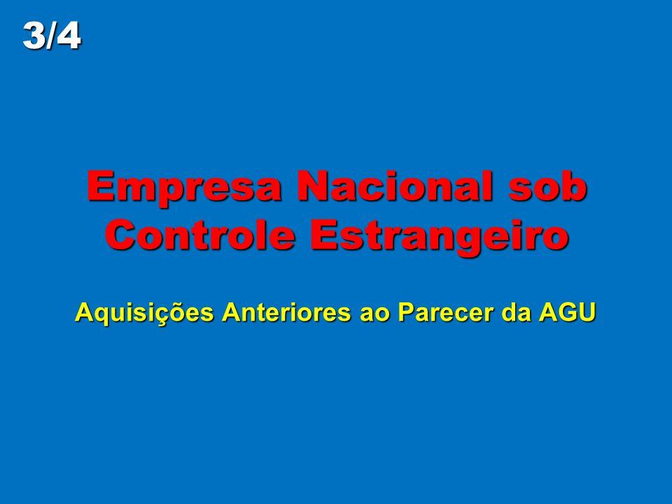 3/4 Empresa Nacional sob Controle Estrangeiro Aquisições Anteriores ao Parecer da AGU