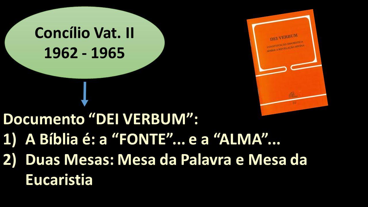 Concílio Vat. II 1962 - 1965 Documento DEI VERBUM : A Bíblia é: a FONTE ...