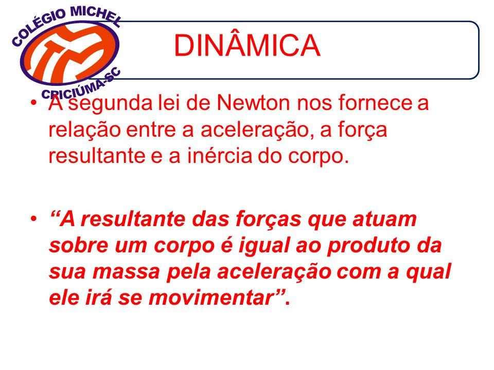 DINÂMICA A segunda lei de Newton nos fornece a relação entre a aceleração, a força resultante e a inércia do corpo.