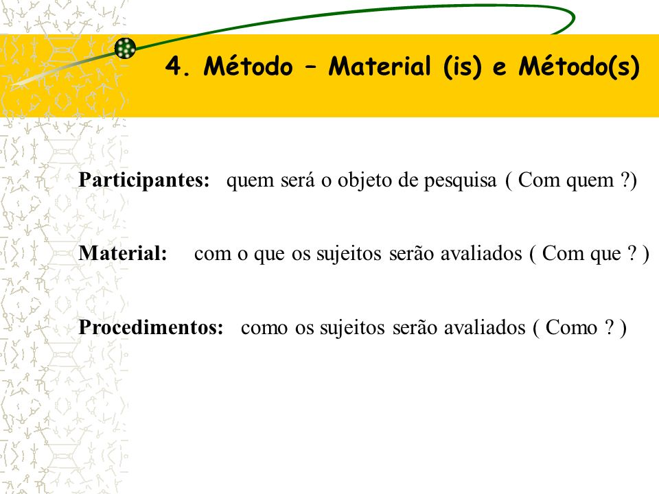 4. Método – Material (is) e Método(s)