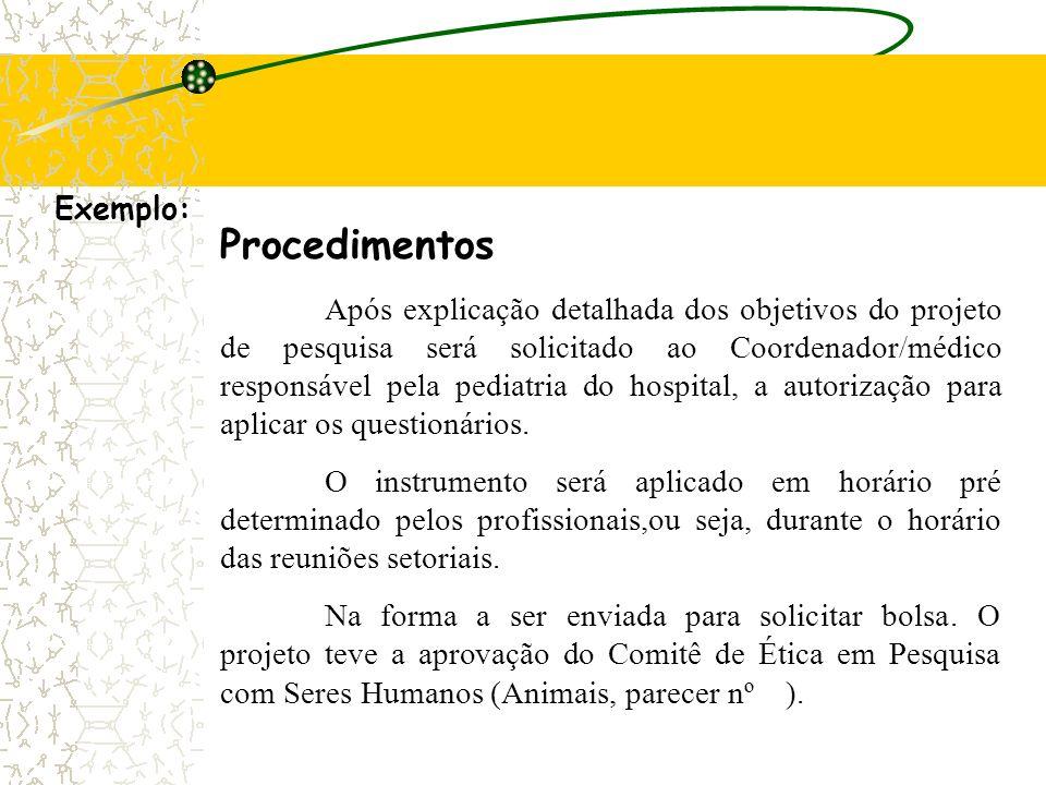 Procedimentos Exemplo: