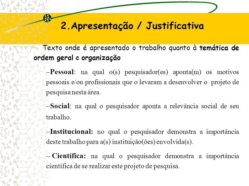 2.Apresentação / Justificativa