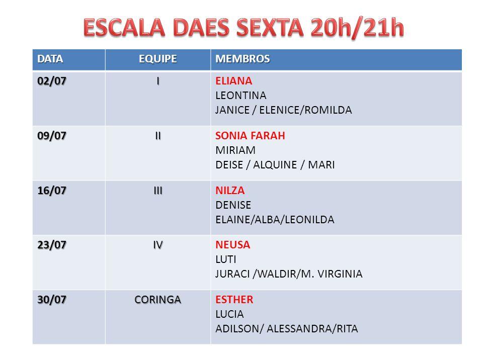 ESCALA DAES SEXTA 20h/21h DATA EQUIPE MEMBROS 02/07 I ELIANA LEONTINA