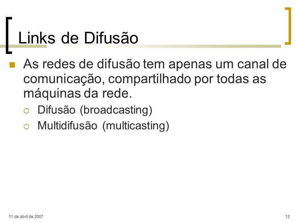 Links de Difusão As redes de difusão tem apenas um canal de comunicação, compartilhado por todas as máquinas da rede.
