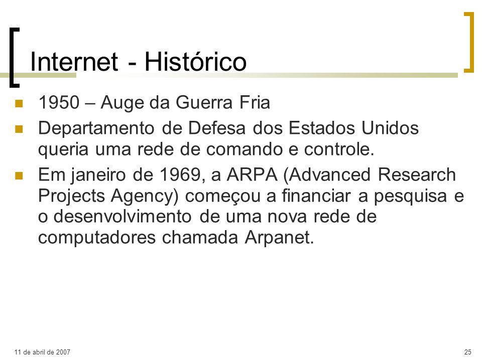 Internet - Histórico 1950 – Auge da Guerra Fria