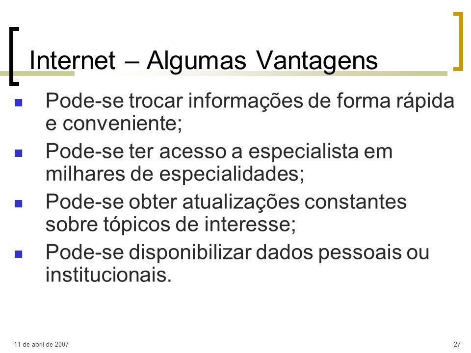 Internet – Algumas Vantagens
