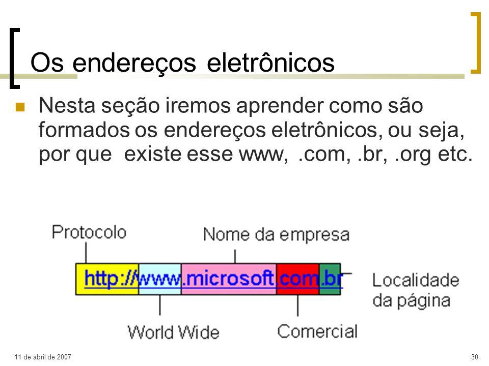 Os endereços eletrônicos