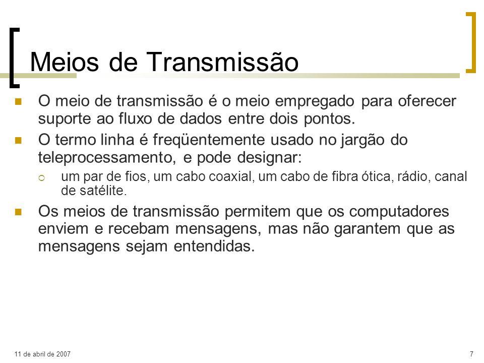 Meios de Transmissão O meio de transmissão é o meio empregado para oferecer suporte ao fluxo de dados entre dois pontos.