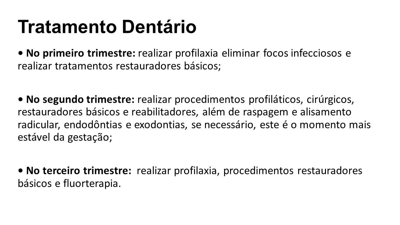 Tratamento Dentário • No primeiro trimestre: realizar profilaxia eliminar focos infecciosos e realizar tratamentos restauradores básicos;