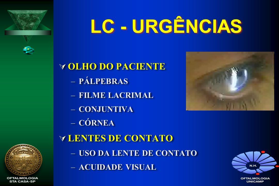 LC - URGÊNCIAS OLHO DO PACIENTE LENTES DE CONTATO PÁLPEBRAS