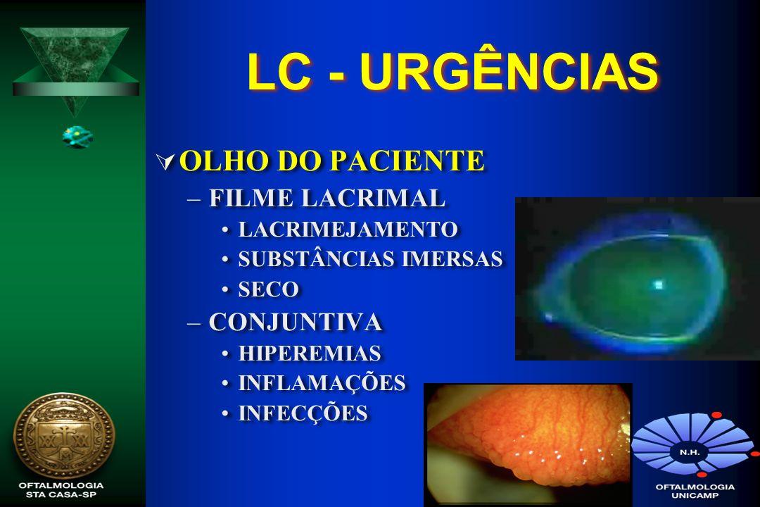 LC - URGÊNCIAS OLHO DO PACIENTE FILME LACRIMAL CONJUNTIVA