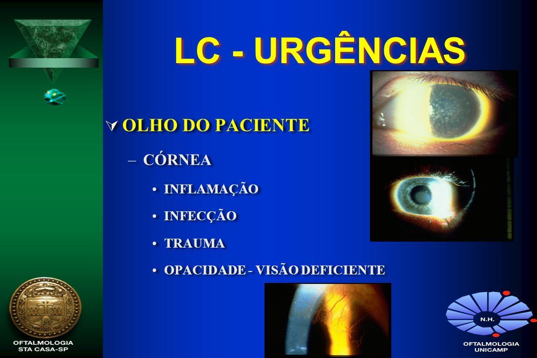 LC - URGÊNCIAS OLHO DO PACIENTE CÓRNEA INFLAMAÇÃO INFECÇÃO TRAUMA