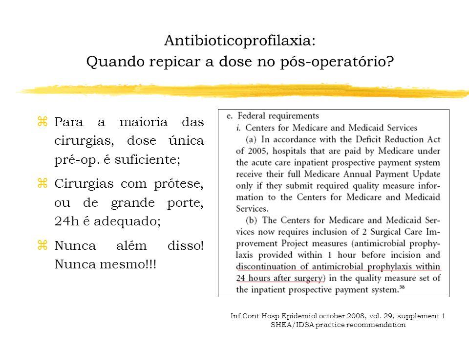 Antibioticoprofilaxia: Quando repicar a dose no pós-operatório