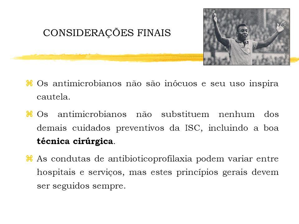 CONSIDERAÇÕES FINAISOs antimicrobianos não são inócuos e seu uso inspira cautela.