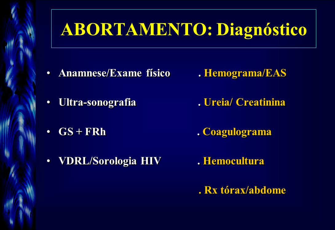 ABORTAMENTO: Diagnóstico