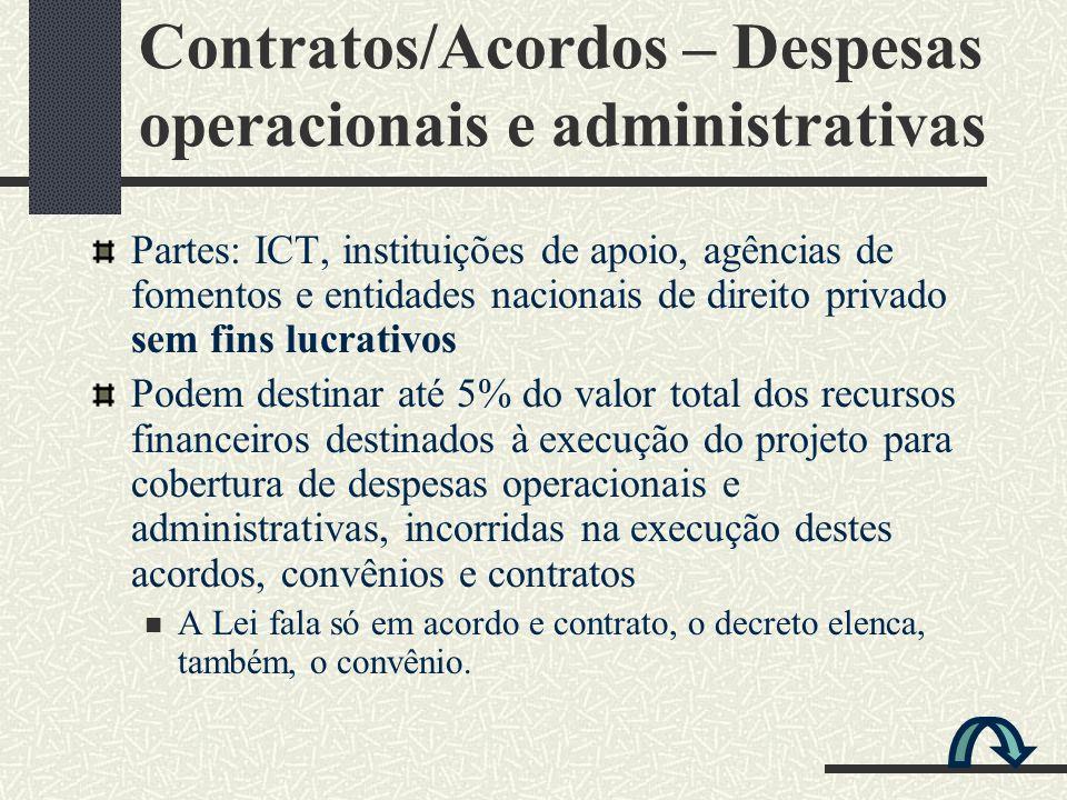 Contratos/Acordos – Despesas operacionais e administrativas
