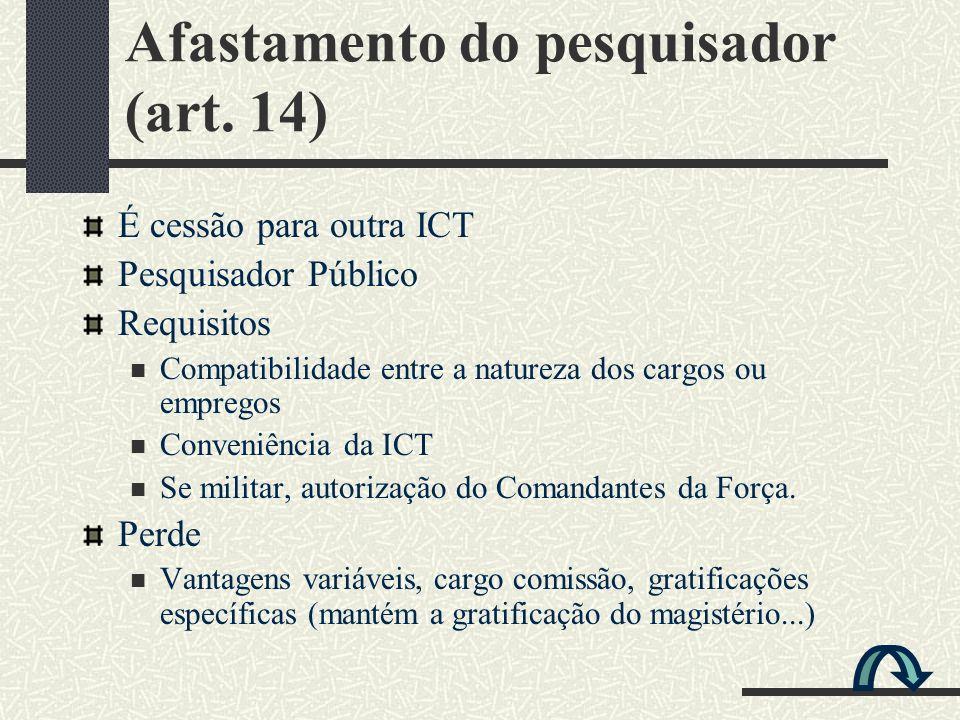 Afastamento do pesquisador (art. 14)
