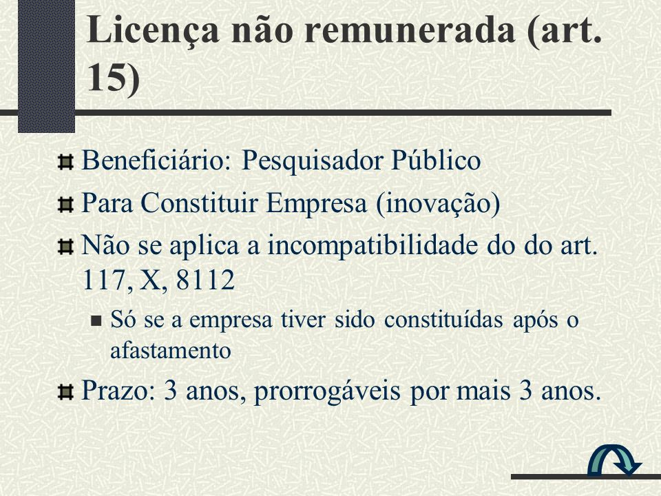 Licença não remunerada (art. 15)