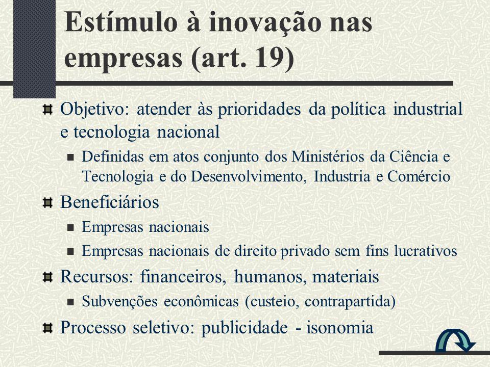 Estímulo à inovação nas empresas (art. 19)