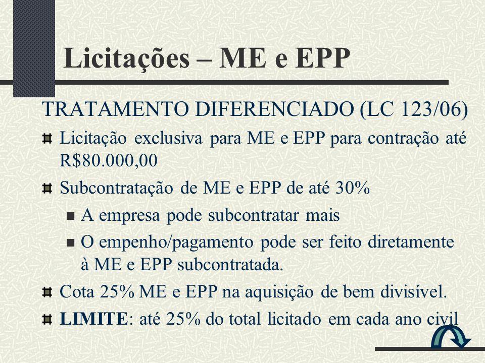 Licitações – ME e EPP TRATAMENTO DIFERENCIADO (LC 123/06)