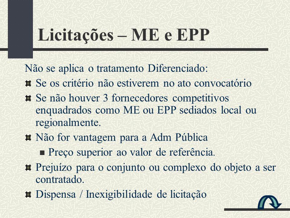 Licitações – ME e EPP Não se aplica o tratamento Diferenciado: